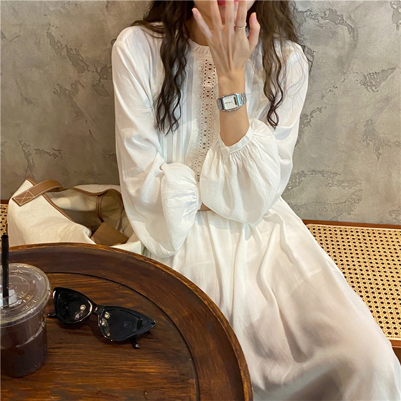 Hb729672decb042c09f4d4aa1ac8a7cfaE - Autumn O-Neck Lantern Sleeves Loose Lace Solid Dress