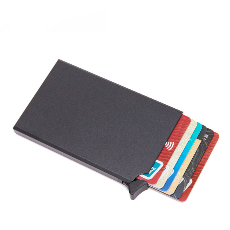 RFID Anti-theft Smart Wallet Thin ID Card Case Unisex Automatically Solid Metal Bank Credit Card Holder Business Mini Purse