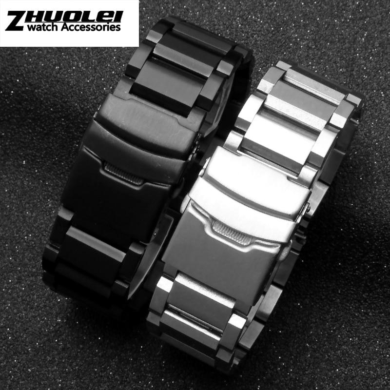 Stainless Steel Watchband For Men's  Silver PVD Black Bracelet Straps 18mm 20mm 22mm 24mm