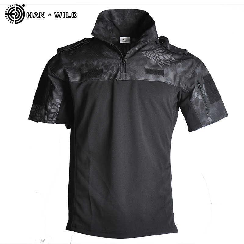 한 야생 위장 전술 군사 셔츠 남자 짧은 소매 Solider 육군 셔츠 Multicam 제복 사이클링 양복 전투 T 셔츠