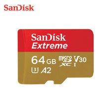Cartão de memória flash 64gb 32gb tf microsdhc/microsdxc do cartão a2 u3 v30 original de sandisk micro sd 128gb 256gb para