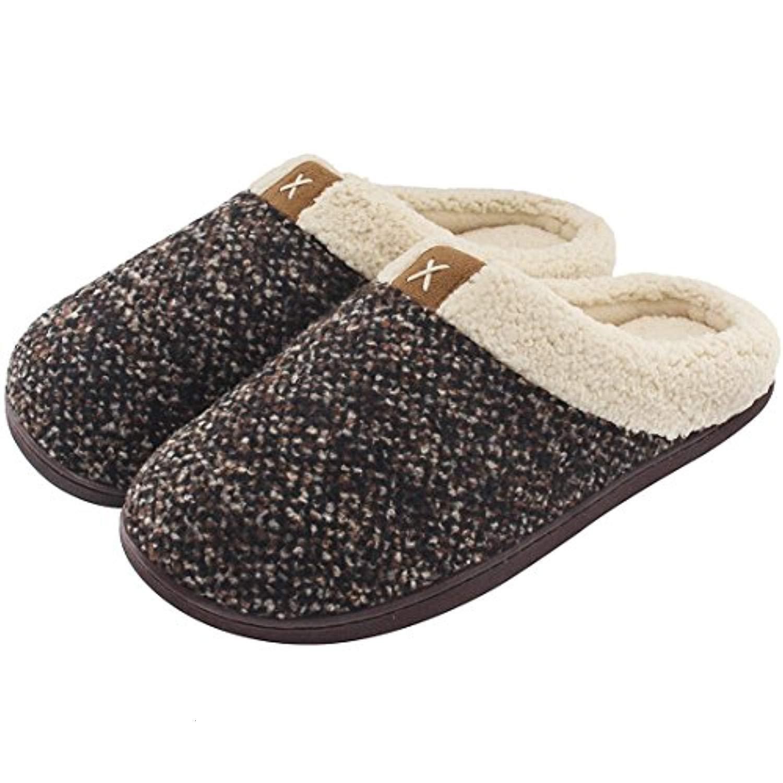 Ladies' Cozy Memory Foam Slippers Fuzzy Wool-Like Plush Fleece Lined House Shoes