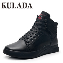 KULADA 2019 Boots Men Leather Sneakers Outdoor Working Waterproof Super Warm Breathable Casual Winter Shoes
