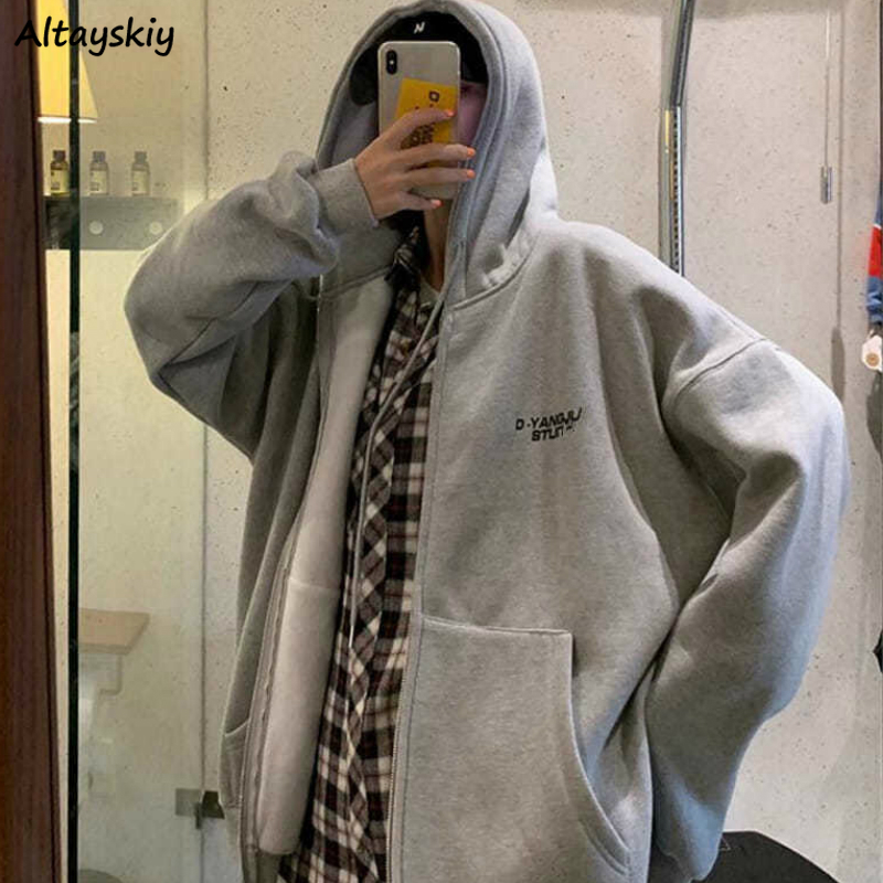 Basic Jackets Women Spring Zipper Ulzzang Hoodies Loose Pure Gray Students Coat Leisure All-match Couple Outerwear Plus Size 4XL