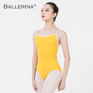 Image 1 - Ballerina ballet leotard women aerialist Practice Dance Costume white edge Sling gymnastics Leotard Adulto 5102