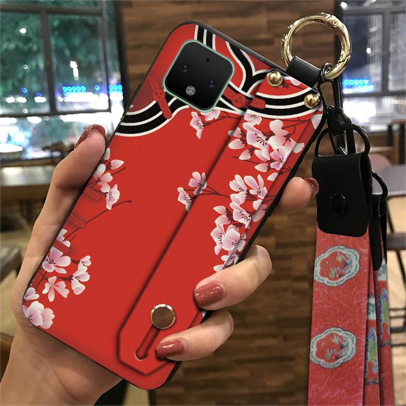 Shockproof Silicone Chinese Style Phone Case Google Pixel 4 XL Wristband Fashionable Waterproof Lanyard Cover Delicate Painted