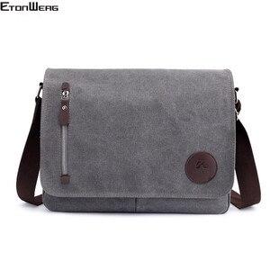 Image 1 - Винтажный холщовый портфель, мужская деловая офисная сумка через плечо, повседневная Наплечная Сумка конверт, Мужская Наплечная Сумка в стиле ретро, 2019