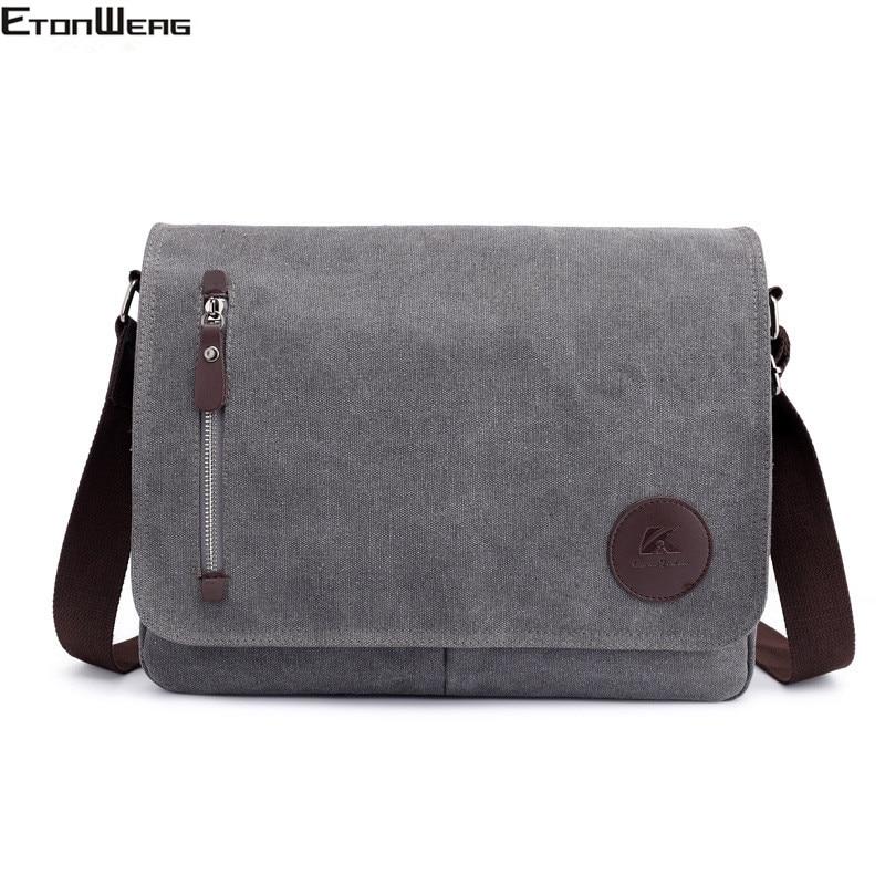 Vintage Canvas Briefcase Men Business Office Crossbody Bags Casual Cover Shoulder Bags Envelope Male File Work Bag Retro 2019
