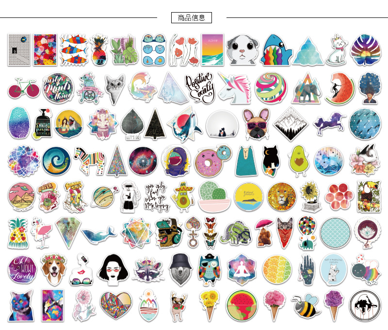 Купить с кэшбэком Stickers Sticker Diary Sticker Small Fresh Sticker Suitcase Computer Sticker Cute Sticker Skateboard Sticker MTZ135-138-6