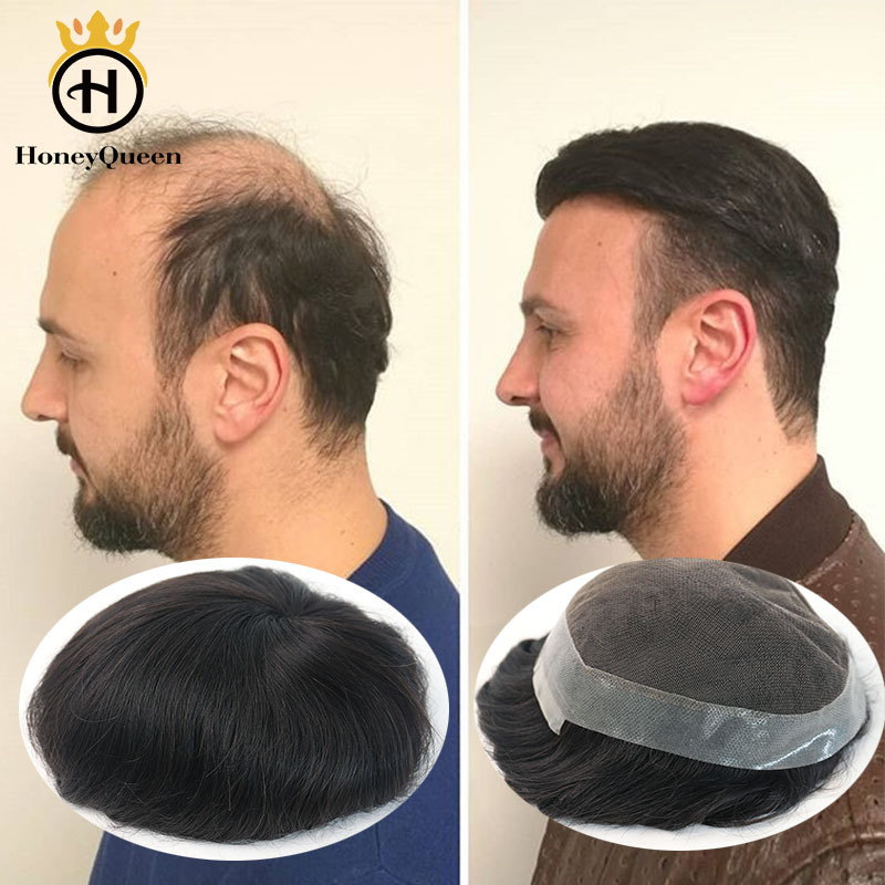 Men Hair Toupee System Natural Looking 100% European Human Hair Toupee French Lace With PU Replacement System Wig For Man Remy