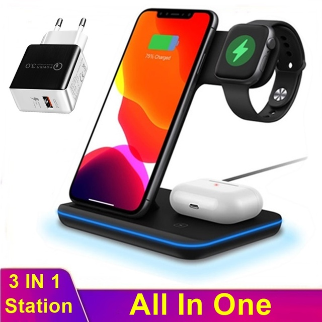 Universal 3in1 15W Qi Wireless Charger For Iphone XS 8 11 Pro Max Huawei Samsung Fast Charging Station For Apple Watch 5 4 3 2 1