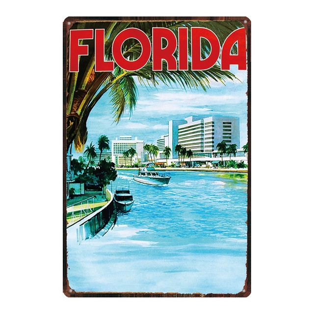Фото флорида пляжные доска металл винтаж путешествия жестяная вывеска цена