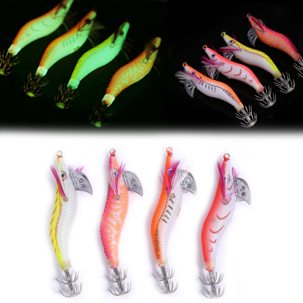 4pcs Shrimp Fishing Lure Bait Crankbait Swimbait Wobbler Squid Hooks 8g//8cm