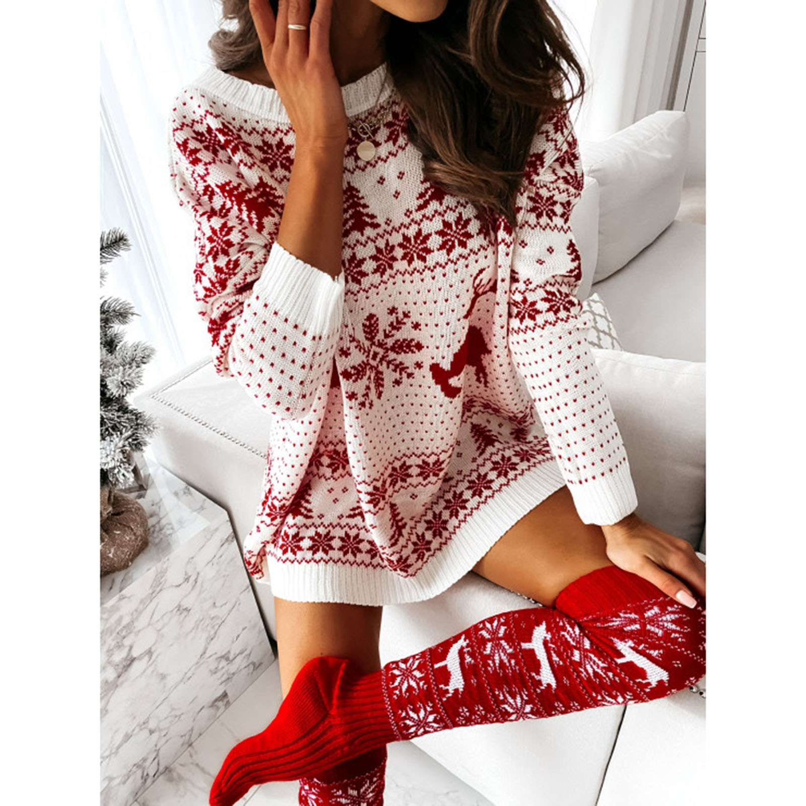 4# pull femme hiver woman sweaters O Neck Elk Snowflake Christmas Xmas Pullover Sweater knit Mini Sweaters Dress mujer suéteres