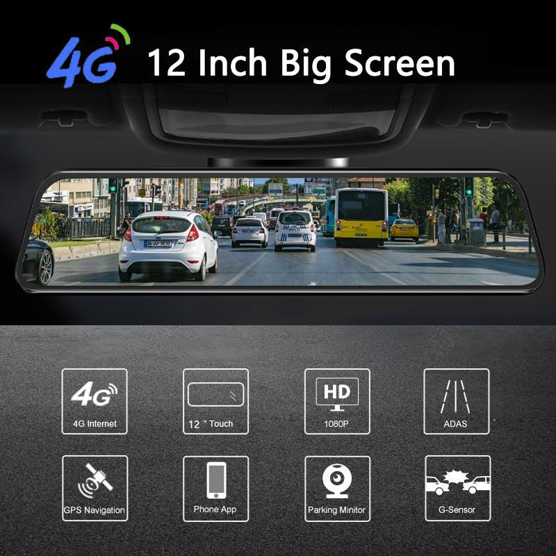 Latest 12 Inch 4G Android Rearview Mirror Car DVR HD 1080P GPS WIFI ADAS Dash Cam Dual Lens Recorder Auto Camera Registrar DVRs 2