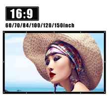 Projector Screen 150inch Foldable White Theater Home HD for Wall-Mounted Bar Travel H150