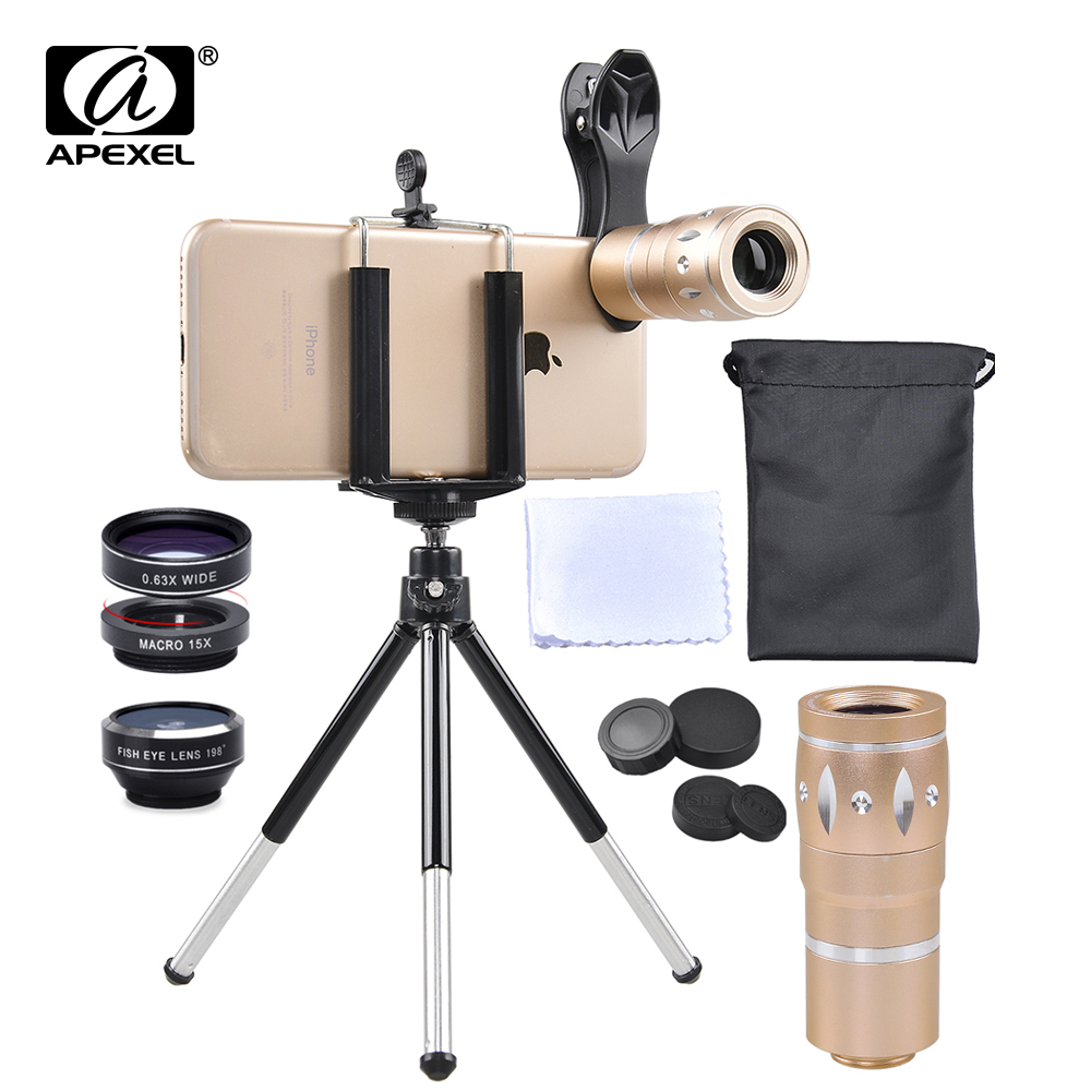 APEXEL 4 in 1 Camera Phone Lens Kit 10x Telescope lens Fisheye + Wide angle + Macro With Tripod Mobile lens for iPhone android|Mobile Phone Lens| |  - title=