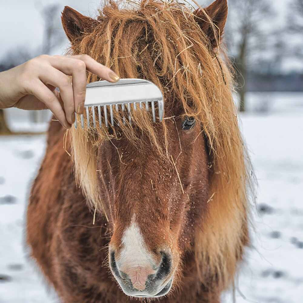 Alliage d'aluminium étrille cheval toilettage peigne crinière queue tirant peigne métal cheval toilettage outil produits de soins du cheval