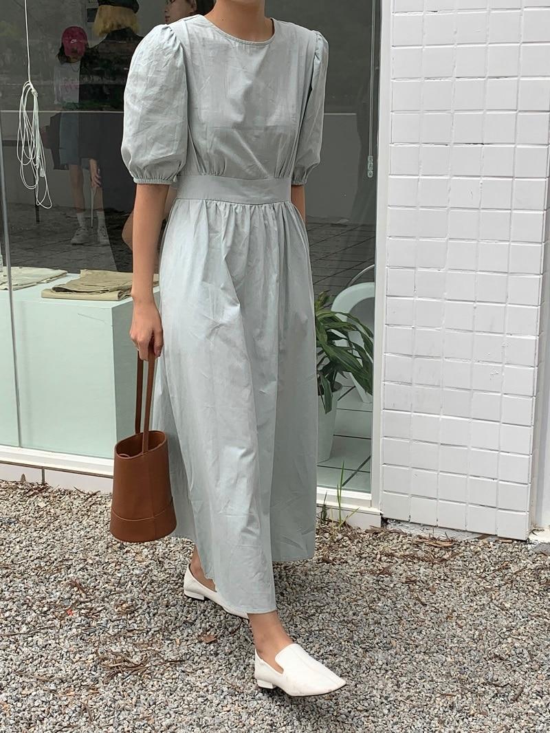 Hb72aa7e3f7d444eda4e9b3b2f9ba5d37b - Summer O-Neck Short Sleeves Elastic-Waist Calf Length Solid Dress