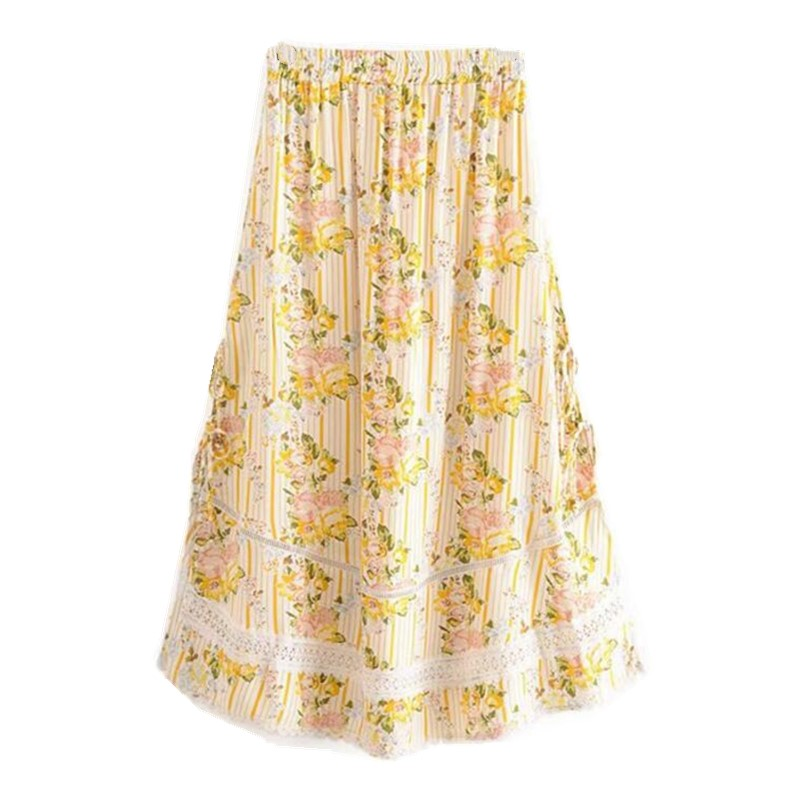 Image 5 - Bohemian Lace Spliced Striped Floral Shirt Yellow Sexy Women Elastic Waist Long Skirt Long Sleeve Blouse Holiday 2 Pieces SetWomens Sets   -