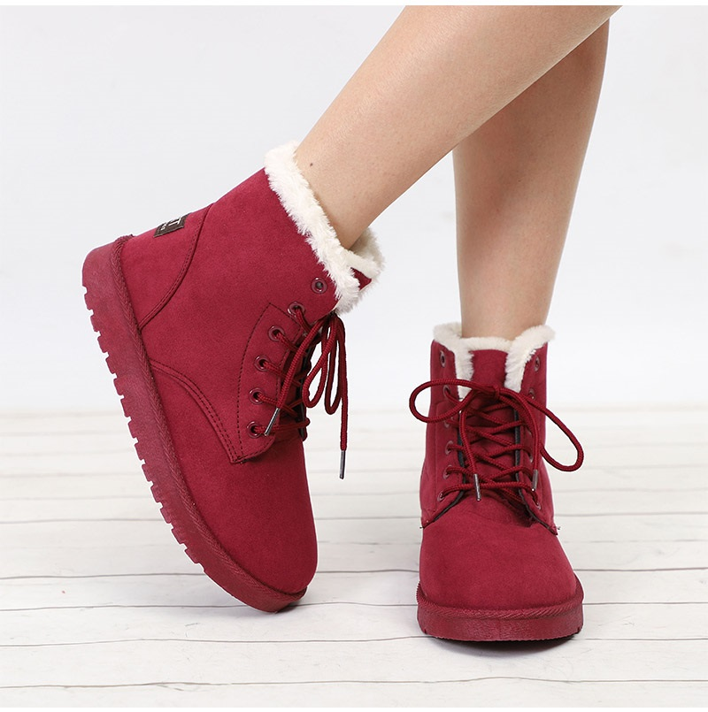 Women Flock Fur Flat Lace Up Winter Snow Suede Ankle Boots Female 43