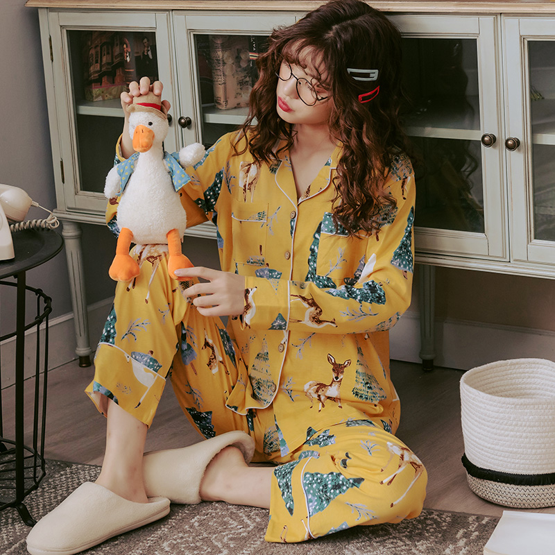 Hb72aaad5601b414d95fd8b3cf2956f2cs - BZEL Hot Sale Autumn Winter Sleepwear Cotton Ladies Pajamas Set Long Sleeves+Pans Underwear Lovely Nightwear Pijama Pyjama M-4XL