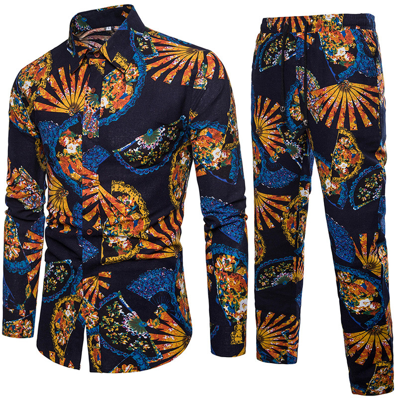 2018 New Style Chinese-style Fashion Set Nation Wind Flower Pants Flax Set Men's Loose And Plus-sized
