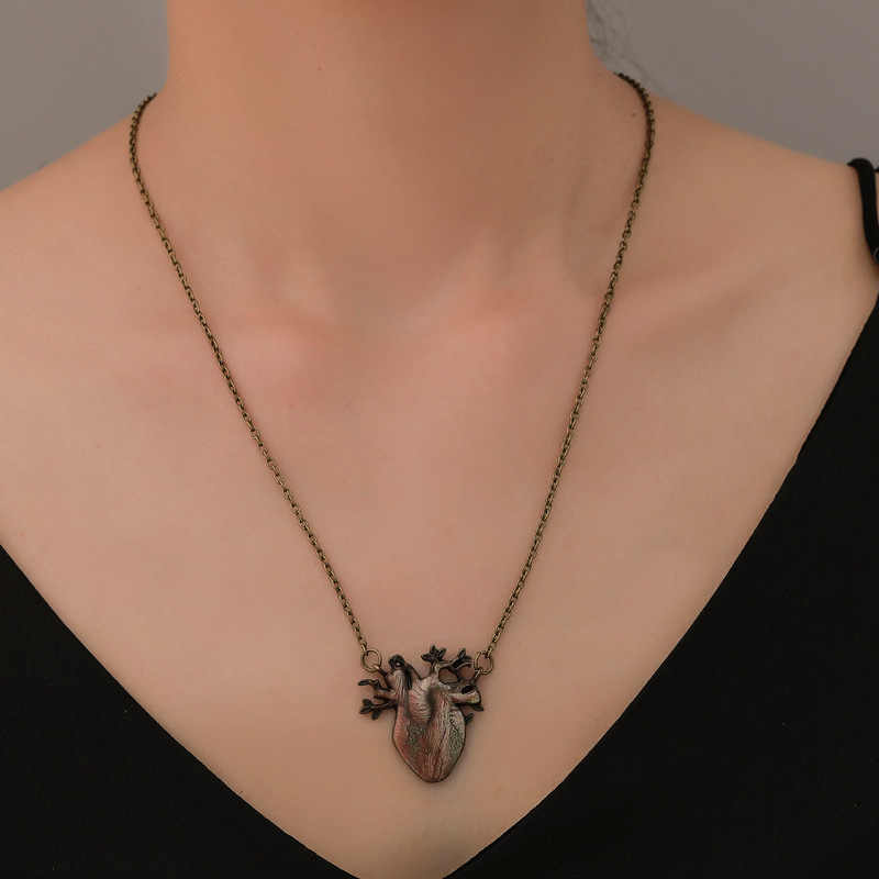 Mode Gothic vinage Antiek brons ANATOMISCH HART CHARME KETTING Liefde Hart Sieraden