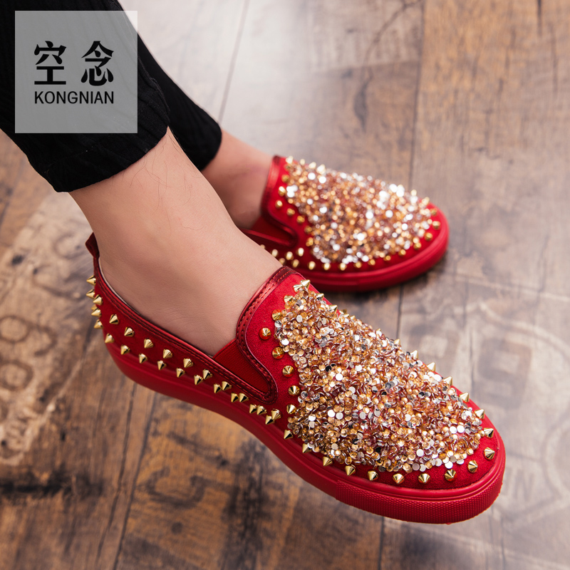 Fashion Shoes Sandals Loafers-Wear Daily Basis Black Metal Pu Red Rivet-Trim Punk-Style title=
