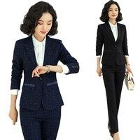 New Navy Blue Blazer Women Business Suits Formal Office Suits Work Wear Jacket and Pant Set Pants Suits Elegant Suits Lady Suit