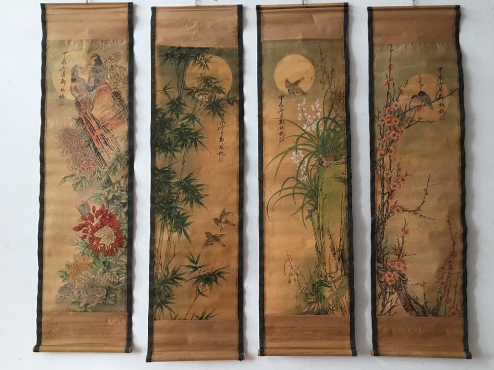 Китай знаменитостей живопись старые свитки четыре экрана украшения Meilan бамбук картина с хризантемами