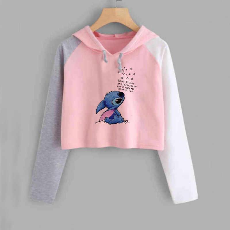 Kawaii Stitch krótki Top bluza z kapturem kobiety śliczne Anime Lilo i stich bluzy Ladiy dziewczyna sweter Harajuku Kpop kobiety ubrania