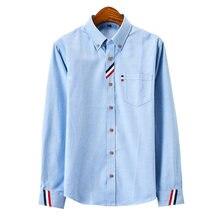 Мужская одежда повседневная Однотонная рубашка из ткани Оксфорд