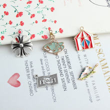 Cute Cartoon Colorful Enamel Woodpecker Snow White Circus Tent Dangle Charms Necklace Pendant for Findings DIY Jewelry Making(China)