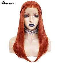 Anogol Oranje Synthetische Lace Front Pruiken Natuurlijke Lange Zijdeachtige Rechte Rode Pruik Hoge Temperatuur Fiber Voor Witte Vrouwen