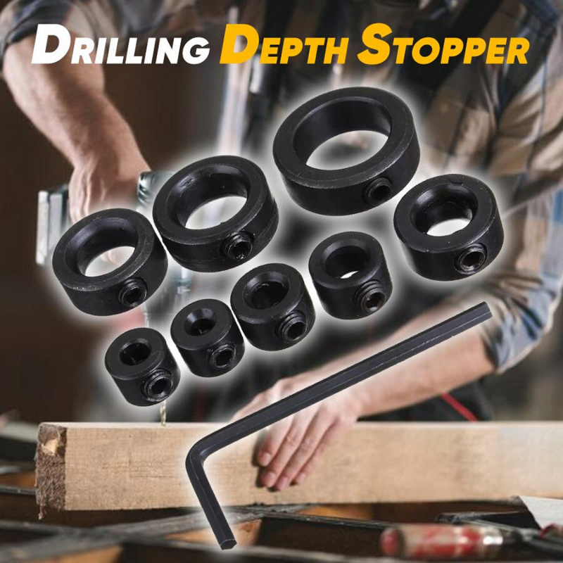 8 Pieces / Set Of 3-16mm Drill Bit Depth Limit Ring Spacer Ring Locator Woodworking Tools With Wrench