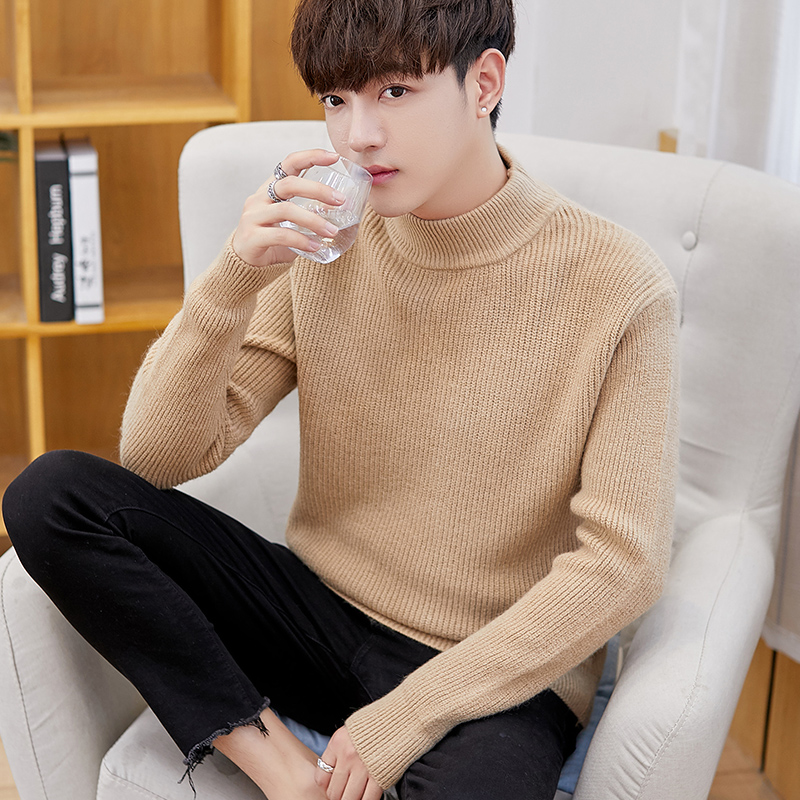 2019 Winter Thick Warm Sweater Men Turtleneck Stripe Sweaters Male Sweter Jumper Loose Pullover Hombre Knitwear Pull White M-3XL