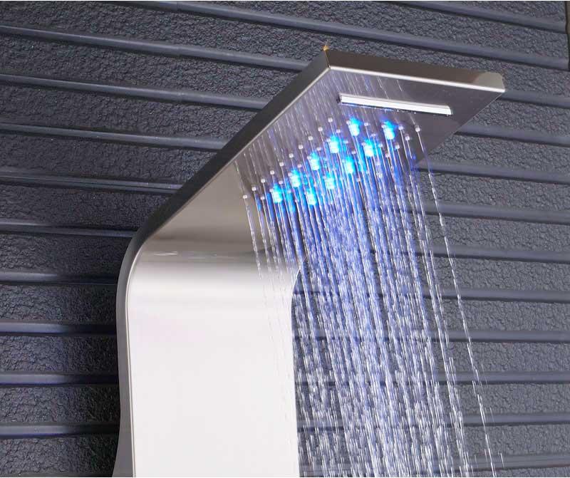 Hb72b6b7b231c4b7dbf031a8786f6eb6eW Black LED Light Shower Faucet Bathroom SPA Massage Jet Shower Column System Waterfall Rain Shower Panel Bidet Sprayer Tap