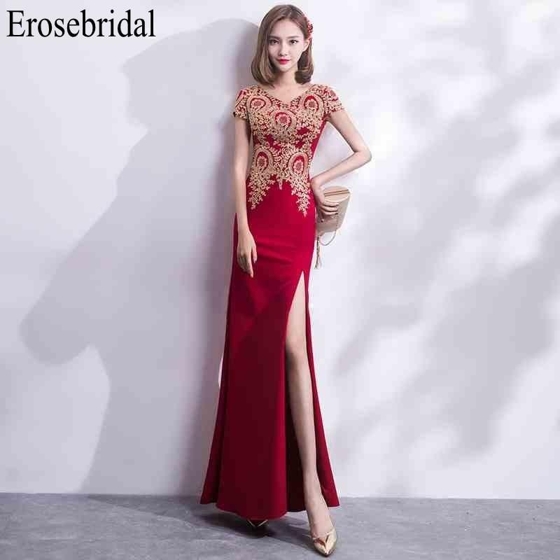 Robe de soirée en dentelle or erosefairy longue 2019 robe de soirée élégante Sexy devant fendu robe rouge fermeture éclair robe de soirée