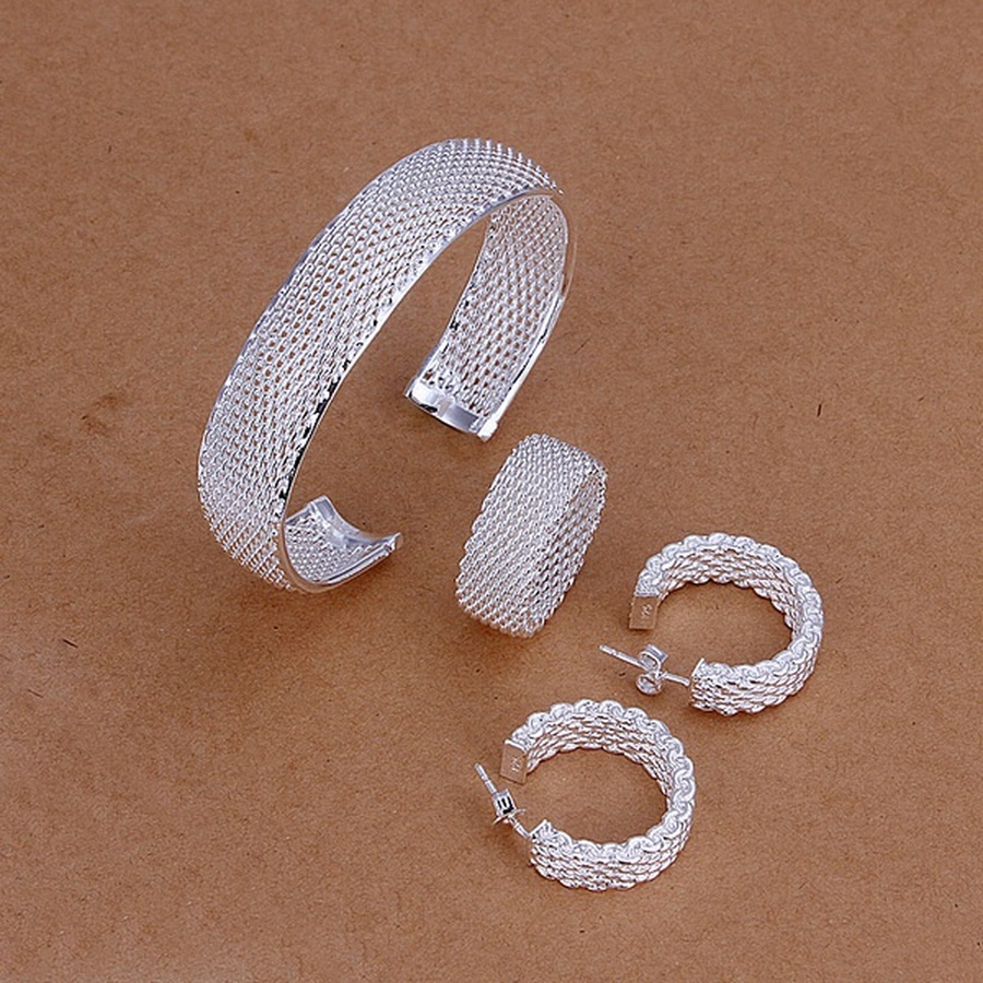 925 Sterling Silver Christmas gift Women lady net wedding party gifts Bangles Stud Earrings Ring fashion Fine jewelry Set S249