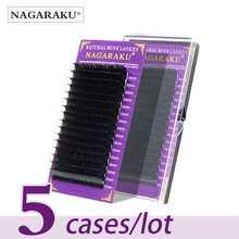 NAGARAKU – 5 plateaux d'extensions de cils de vison individuel, faux cils doux et naturels, de haute qualité, taille unique