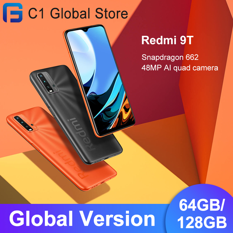 Глобальная версия Xiaomi Redmi 9T Snapdragon 662 мобильный телефон 4GB оперативной памяти, 64 Гб встроенной памяти/128 ГБ ROM 48MP тыловая камера Bluetooth 5,0 6000 мАч