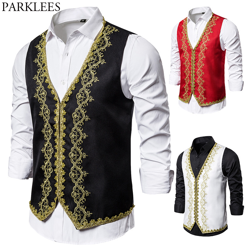 Baroque Style Gold Embroidery Vest Men Stylish Slim Fit Palace Prince Black Vests Mens Stage Prom Drama Opera Costume Gilet 2XL