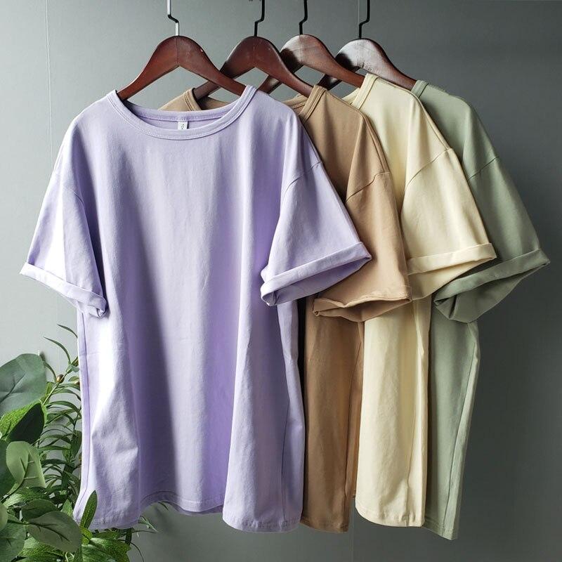 Toppies camisetas de verano harajuku camisetas de gran tamaño para mujer color sólido 95% algodón coreano moda para chicas camisetas