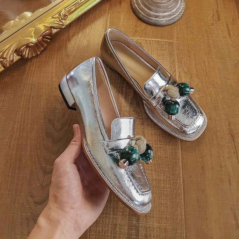 2020 new barnd autumn women pumps genuine leather black silver low heel shoes woman dress party casual shoes pumps size 34-43
