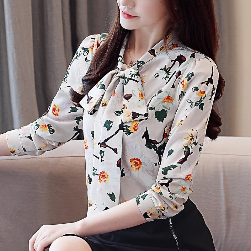 fashion womens tops and blouses 2020 new print chiffon blouse shirt bow V collar office blouse long sleeve women shirts 2432 50 4