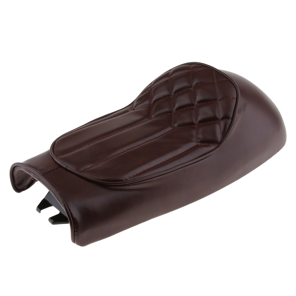 Vintage Seat Cushion For Motorcycle Hump Saddle Cafe Racer, Brown