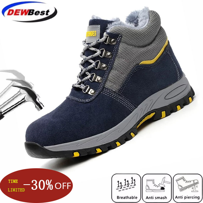 Dewbest Winter Men Safety Work Boots Warm Plush Fur Mens Labor Insurance Puncture Proof Snow Boot Man Steel Toe Cap Shoes Male