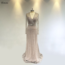 yybride Bespoke Occasion V-neck Long Sleeves Crystals Evening Dresses Sexy Beading Prom Dresses with Belt Floor Length Dresses