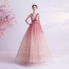 Розовые вечерние платья 2020 длинные элегантные блестящие Бальные